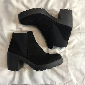 Topshop Black Suede Chunky Boot